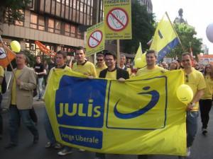 Auf der Demonstration Freiheit statt Angst