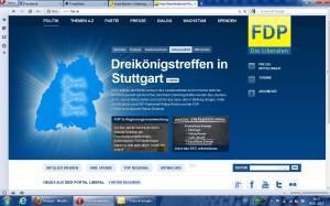 Screenshot der Dreikönigsseite der Bundes-FDP